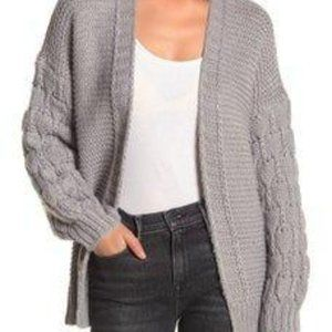 Nordstrom Grey Chunky Knit Open Front Cardigan XL